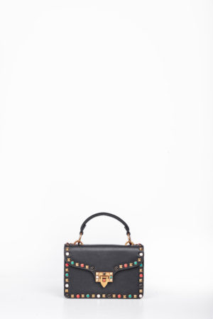 BOX MULTI COLORED STUD CLIP BAG - BLACK