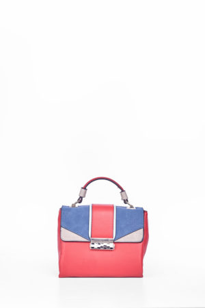 RED & BLUE COLORBLOCK GRAB HANDLE CLIP BAG