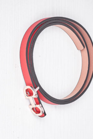 DD GOLD DETAIL SLIM BELT- RED