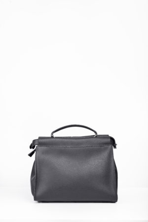 BLACK LEATHER GRAB HANDLE BAG