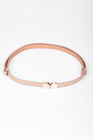 ROUND GOLD LOCK ADJUSTABLE SLIM BELT - NUDE
