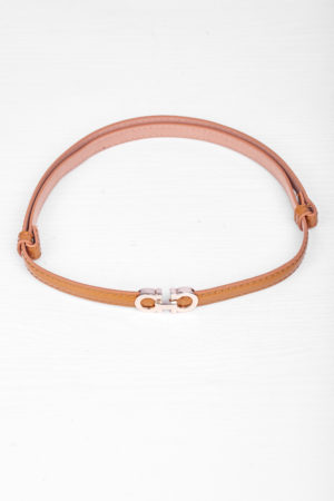 DD GOLD DETAIL ADJUSTABLE SLIM BELT - CAMEL