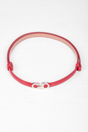 DD GOLD DETAIL ADJUSTABLE SLIM BELT - RED