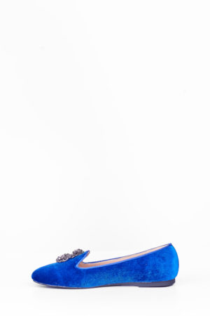 WAGCHIC EMBELLISHED BOYFRIEND LOAFERS - NAVY
