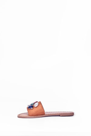 WAGCHIC BLACK BAND EMBELLISHED SLIPPERS - CAMEL