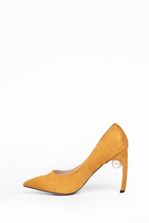 WAGCHIC CURVED HEEL COURT SHOE WITH PEARL DETAIL - MUSTARD