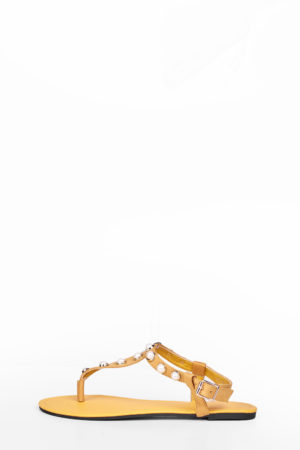 PEARL STUDDED THONG FLAT SANDAL - YELLOW