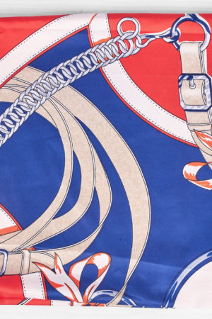 RED AND NAVY CHAIN BELT PRINT SILK SCARF