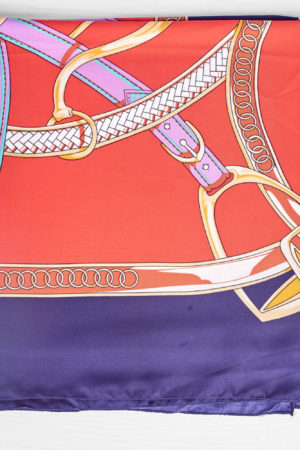 NAVY AND RED PURPLE CHAIN BELT PRINTED SILK SCARF