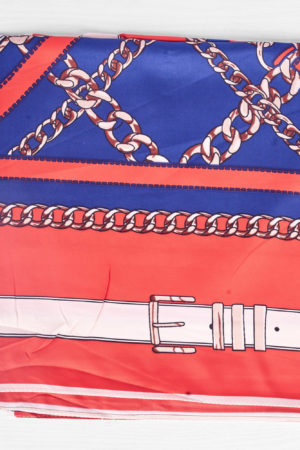 NAVY AND RED CHAIN BELT PRINT SILK SCARF