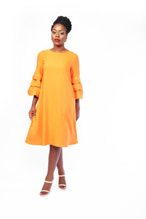 WAGCHIC BUBBLE SLEEVE TUNIC WITH PEARL - ORANGE