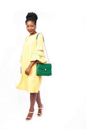 WAGCHIC BUBBLE SLEEVE TUNIC WITH PEARL - MUSTARD
