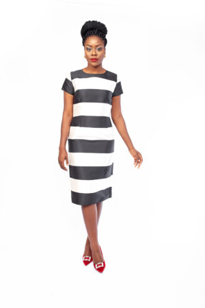 BOLD STRIPE JACQUARD PENCIL DRESS