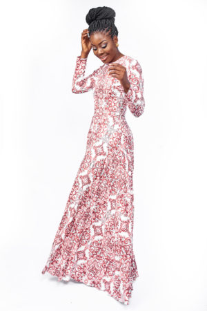BAROQUE PRINT FLORAL EMBROIDERY MAXI DRESS