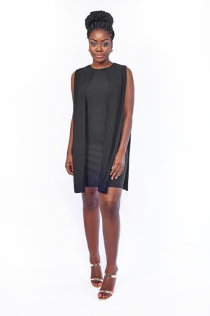2PCS PLEATED TUNIC - BLACK