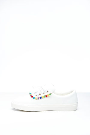 WAGCHIC SNEAKERS WITH MINI POMPOM - WHITE