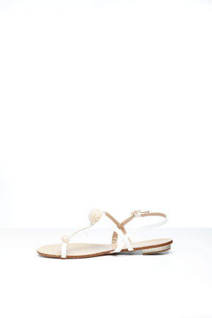 OPEN TOE EMBELLISHED FLAT SANDAL - WHITE