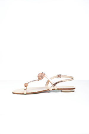 OPEN TOE EMBELLISHED FLAT SANDAL - ROSE GOLD
