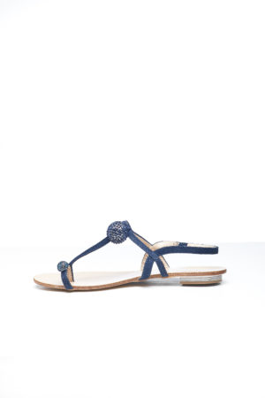 OPEN TOE EMBELLISHED FLAT SANDAL - DENIM