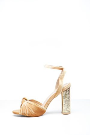 KNOT VELVET WITH GOLD HEEL - MUSTARD
