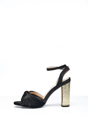 KNOT VELVET WITH GOLD HEEL - BLACK