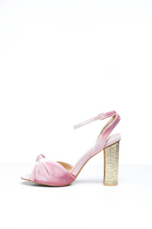 KNOT VELVET WITH GOLD HEEL - BLUSH
