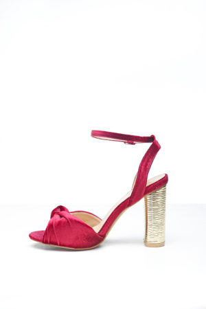 KNOT VELVET WITH GOLD HEEL - MAROON