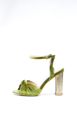 KNOT VELVET WITH GOLD HEEL - OLIVE
