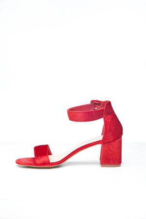 BIG BAND SLANTED BLOCK HEEL - RED