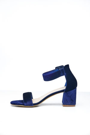 BIG BAND SLANTED BLOCK HEEL - NAVY