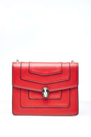 PANEL CHAIN BAG WITH BALL CLIP - RED