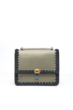KHAKI & BLACK LACE HEM STUDDED BAG