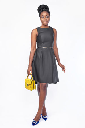 BLACK SCUBA SLEEVELESS DEEP HEM SKATER DRESS