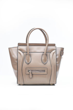 PIPED WING TOTE BAG - TAUPE