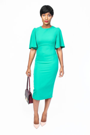 DAISY FRILL SLEEVE PENCIL DRESS - GREEN