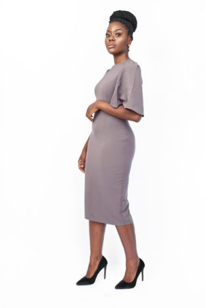 DAISY FRILL SLEEVE PENCIL DRESS - STONE