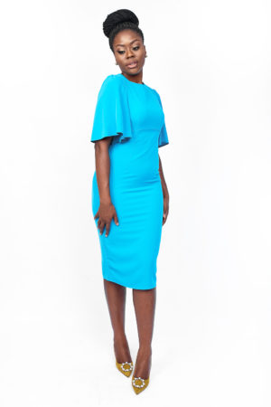 DAISY FRILL SLEEVE PENCIL DRESS - TURQUOISE