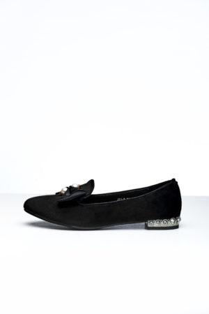 VELVET BOW & PEARL DETAIL LOAFERS - BLACK