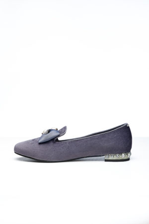 VELVET BOW & PEARL DETAIL LOAFERS - GREY
