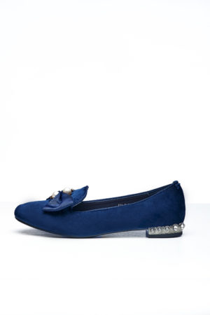VELVET BOW & PEARL DETAIL LOAFERS - NAVY