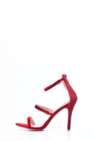 VELVET MULTI WAY STRAPPY SANDALS - RED