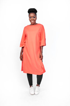 T SHIRT TUNIC WITH SPLIT SIDES - CORAL
