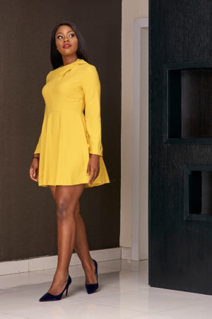 (3 for 15K) MUSTARD KNOTTED NECK SKATER DRESS