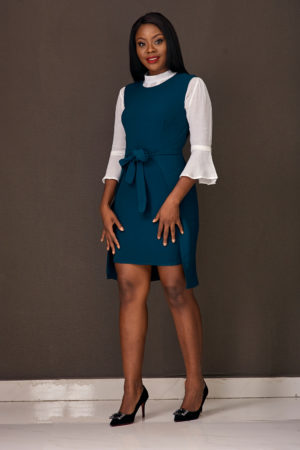 (3 for 12K) FRONT TIE TUNIC - TEAL GREEN