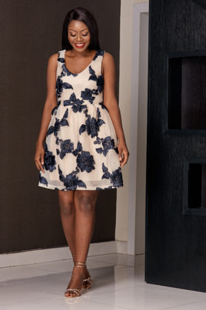 FLORAL TISSUE SKATER DRESS - CREAM AND NAVY