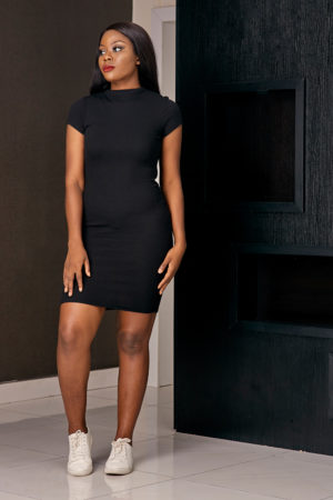BLACK RIB BONE HIGH NECK BODYCON DRESS