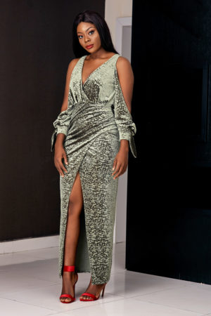 (3 for 20K)OLIVE ANIMAL PRINT VELVET MAXI DRESS
