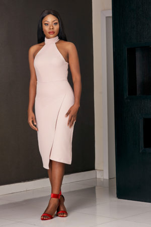 NUDE HALTER NECK PENCIL DRESS