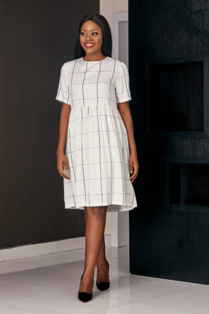 MONOCHROME CHECK SWING DRESS