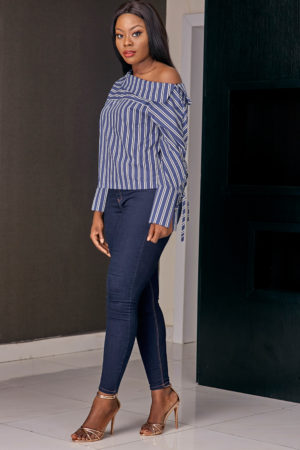 (3 for 12K) STRIPE OFF SHOULDER TOP - BLUE